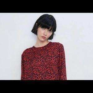 Zara red and black dress